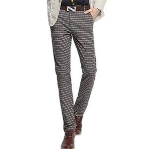 723e82ff604 British style slim cut checked plaid mens trousers